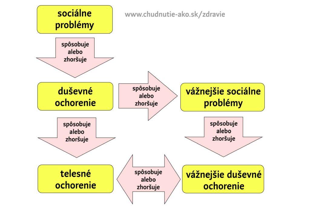 Schéma: zdravie ako prepojený systém telesnej, duševnej a sociálnej rovnováhy.
